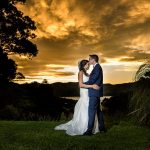 Akaroa wedding photographer with the bride and groom at sunset at Mt Vernon Lodge
