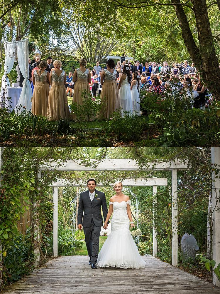 Bramble Grove wedding venue photo collage of bride and groom walking and wide angle shot of the wedding ceremony