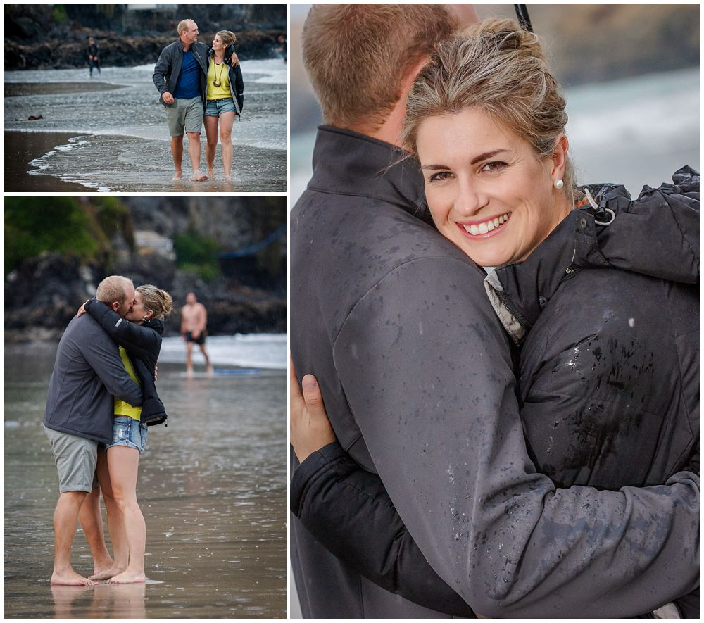 couple on beach on rainy day engagement shoot Taylors Mistake Christchurch