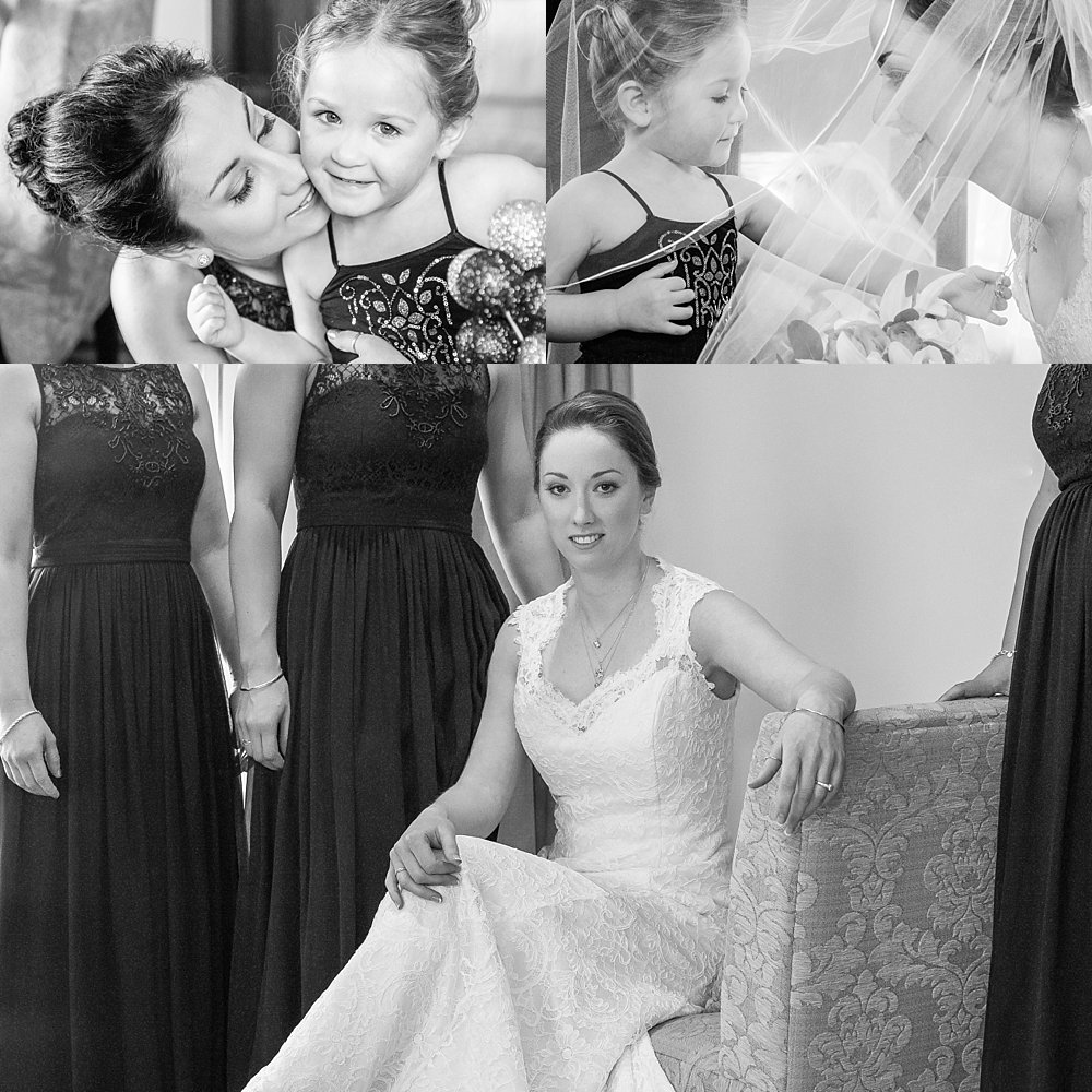 Melton Estate Wedding-three photo collage of bride, her sister and flower girl
