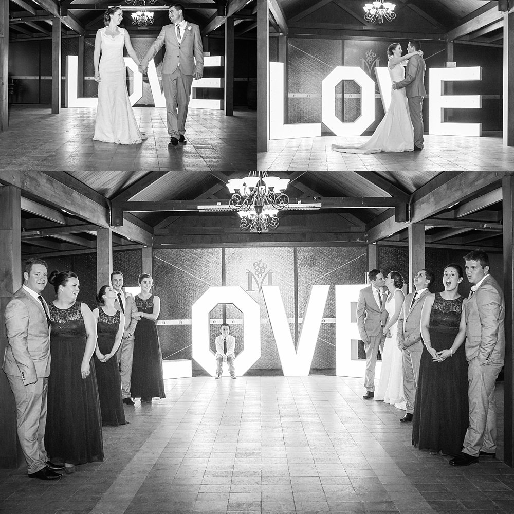 collage of the bridal party in the pavilion at Melton Estate Wedding Venue