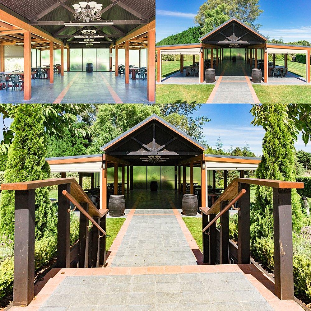 Pavilion for ceremonies at Melton Estate Wedding Venue, Christchurch