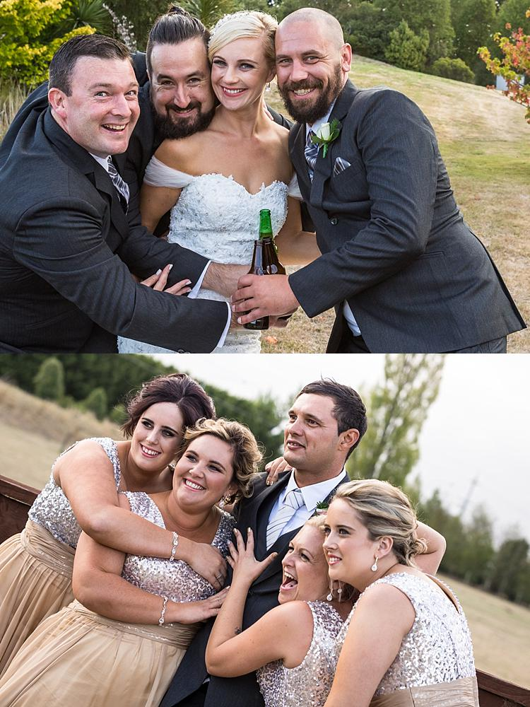 Two photo collage of bride with the groomsmen and the groom with bridesmaids at Flaxton Manor, Rangiora