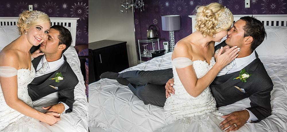 Bride and Groom on a bed in the bridal suite at Flaxton Manor B&B photo by Wedding Photographers Christchurch Pip and Oz