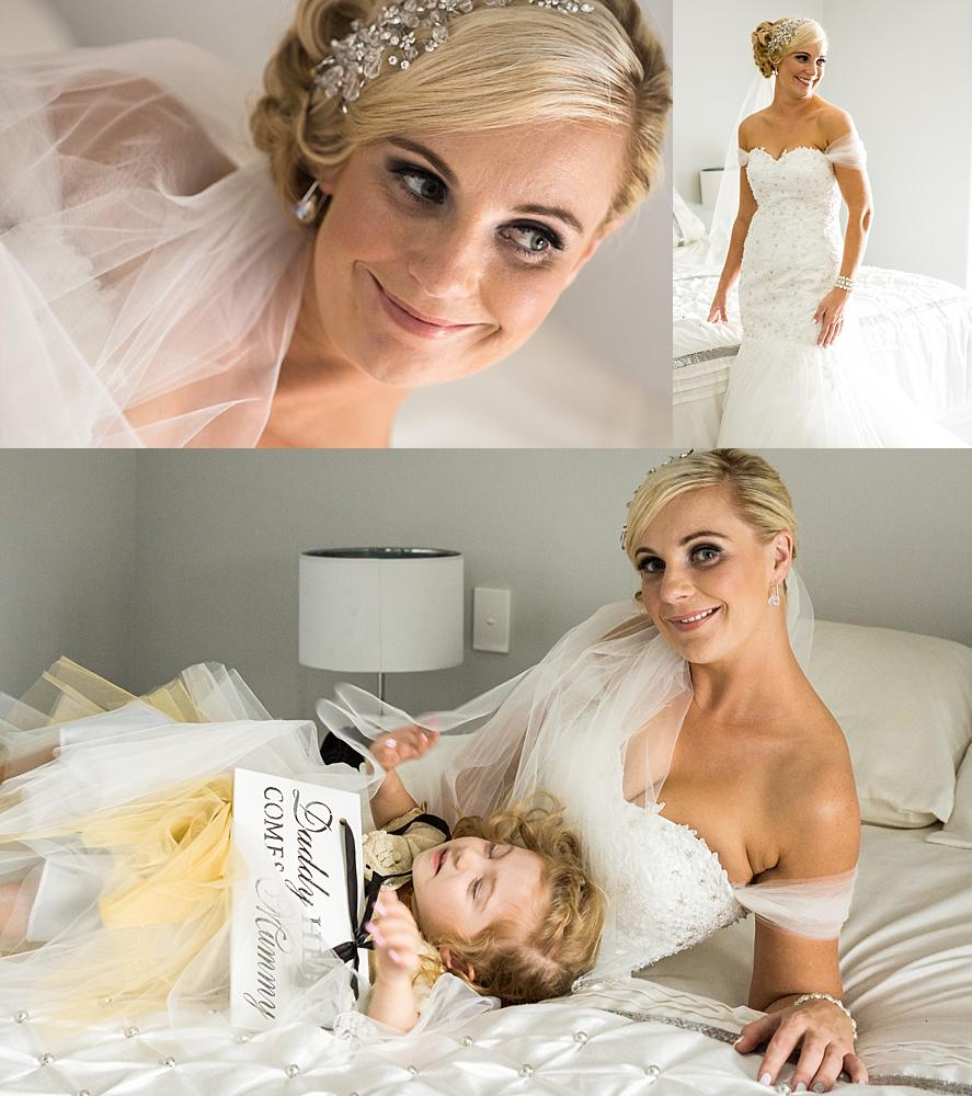 Photo collage of bride and daughter lying on the bed and standing next to bed
