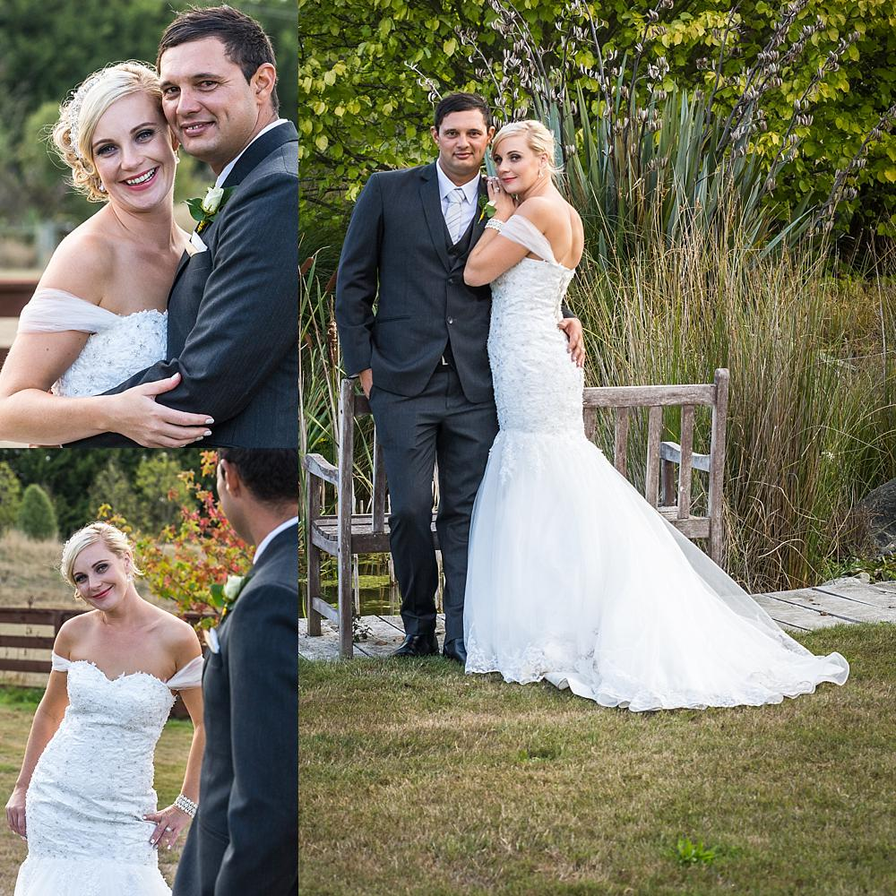 Three photo collage of bride and groom having intimate moments photo by Wedding Photographers Christchurch Pip and Oz