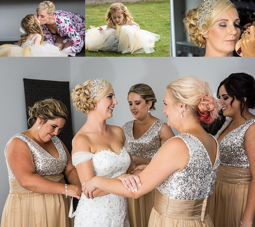 Photo collage to the bride and bridesmaids getting ready at bride's home in Christchurch