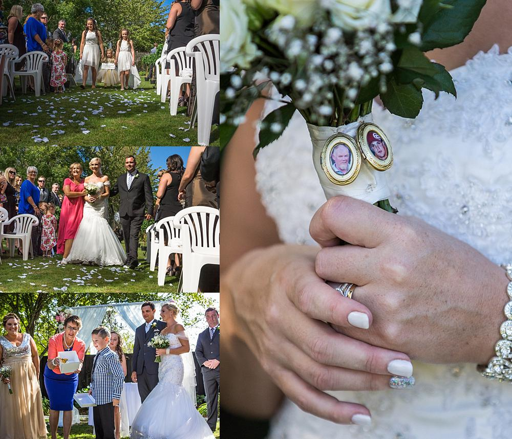 Four photo collage of wedding ceremony at Bramble Grove Wedding Venue