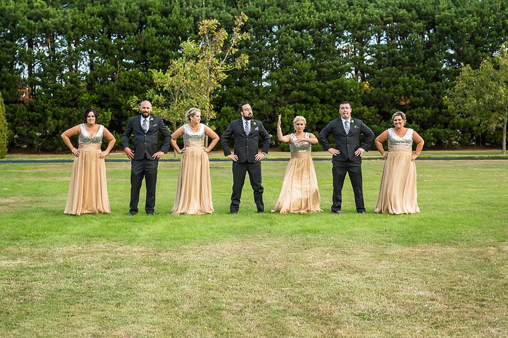 Bridal party doing the New Zealand Haka at Flaxton Manor B&B in Rangiora
