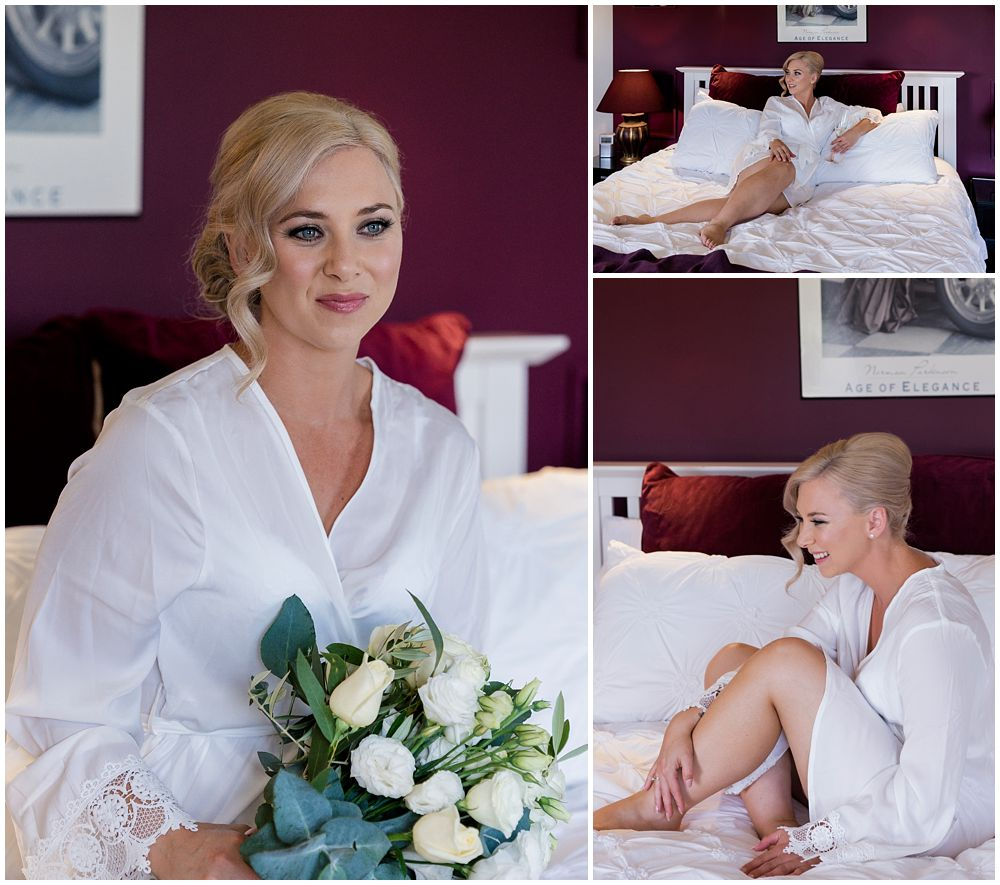 Darjon Vineyard Wedding- Bride sitting on bed in dressing gown
