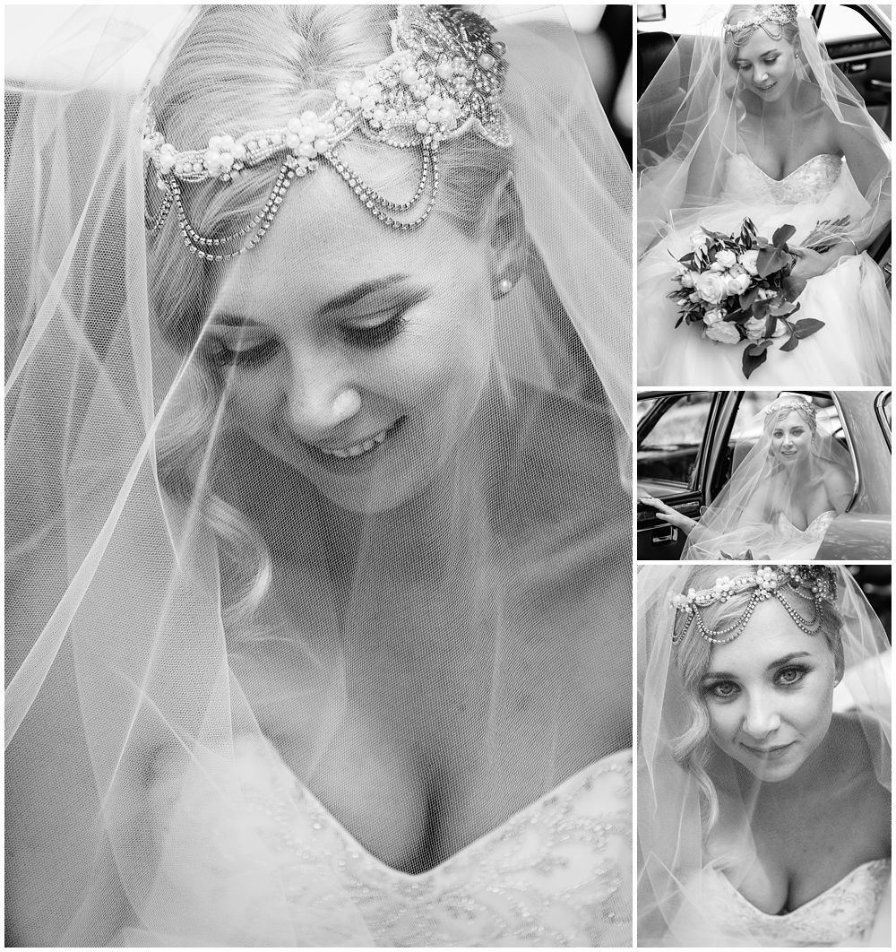 Black and white photos of the bride under her veil