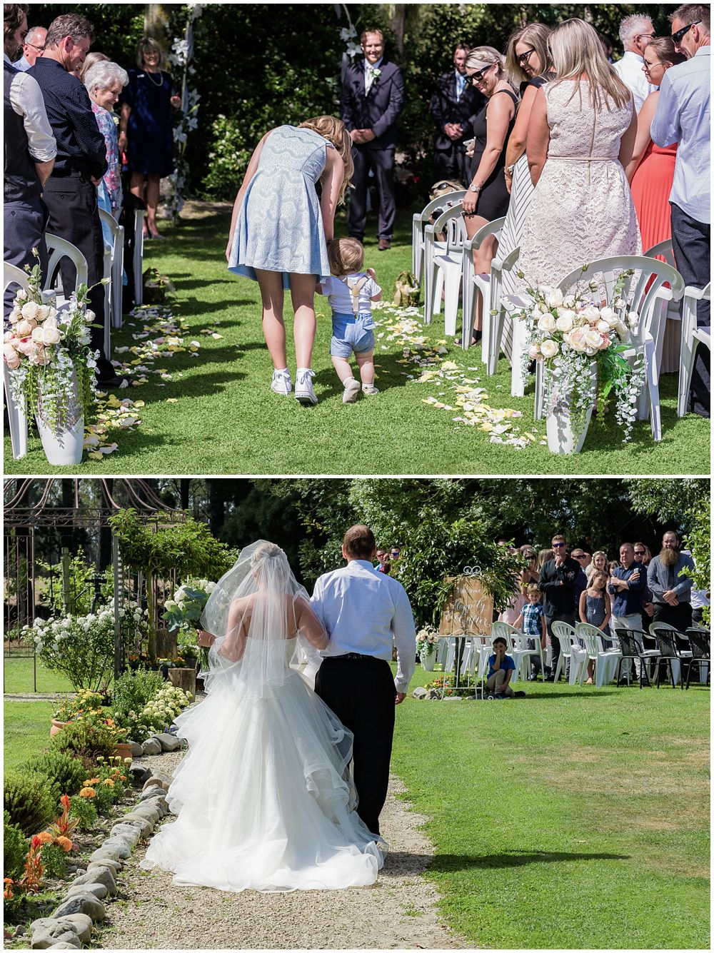 Flower girl and couple's son walk down the aisle