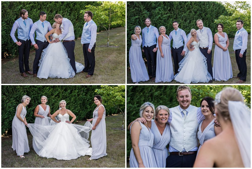 Group photos of the bridal party at Flaxton Manor