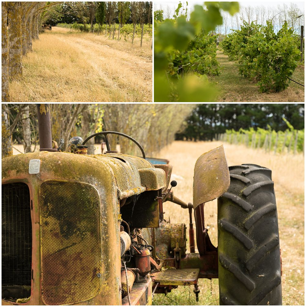 Rustic tractor at Darjon vineyard wedding venue