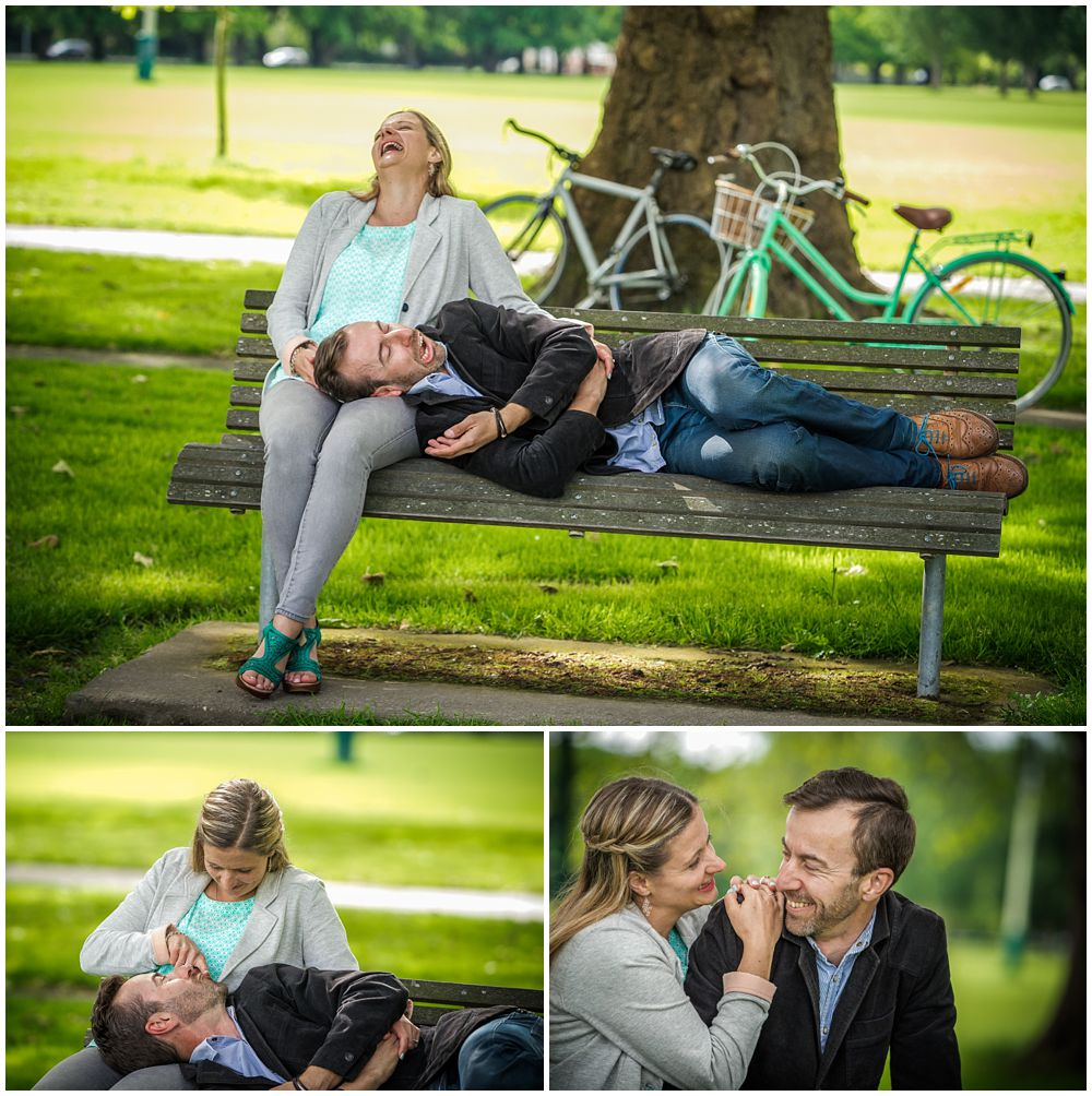 couple on a park bench during engagement shoot in Christchurch