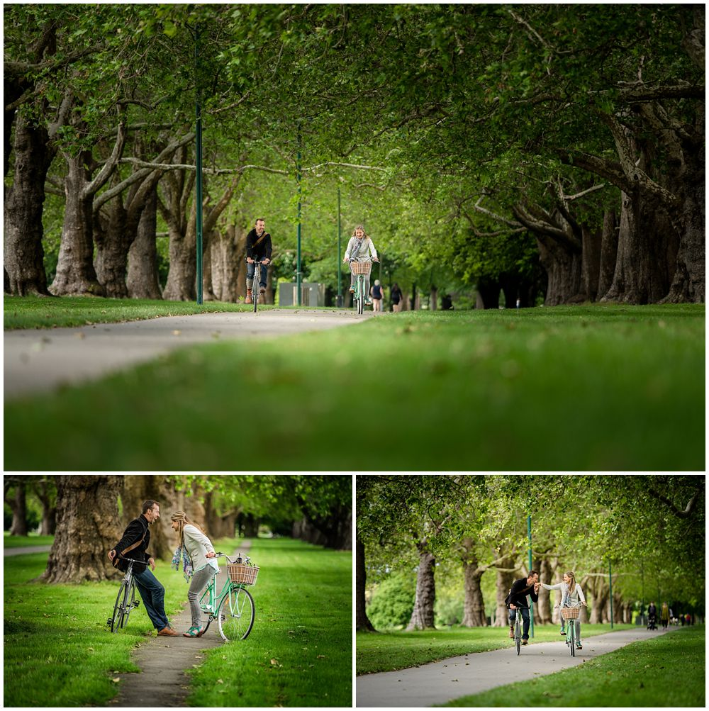 couple on bikes in Hagley Park for an engagement photo session