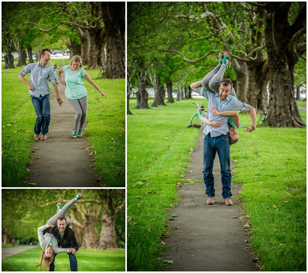Christchurch engagement shoot in Hagley Park dancing couple