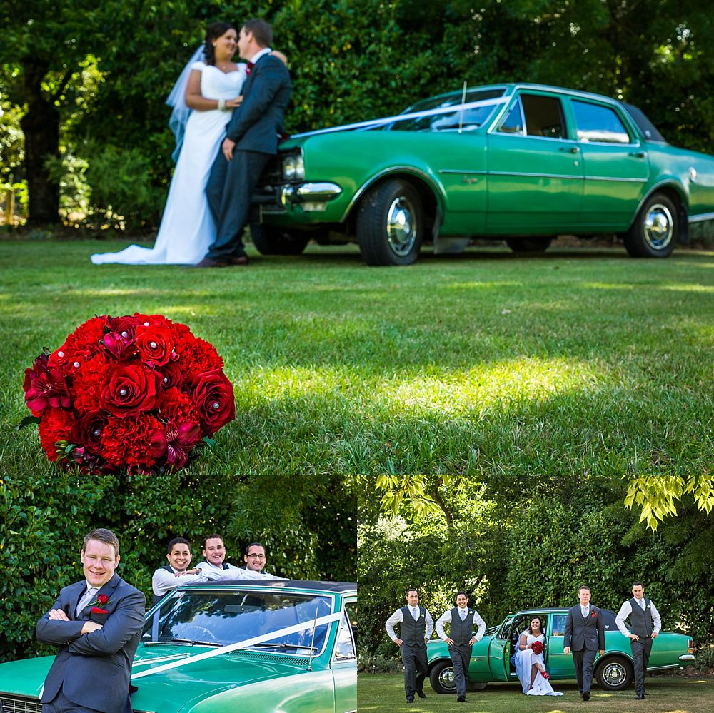 Bridal car photos on the lawn at Flaxmere Garden Wedding Venue in Hawarden