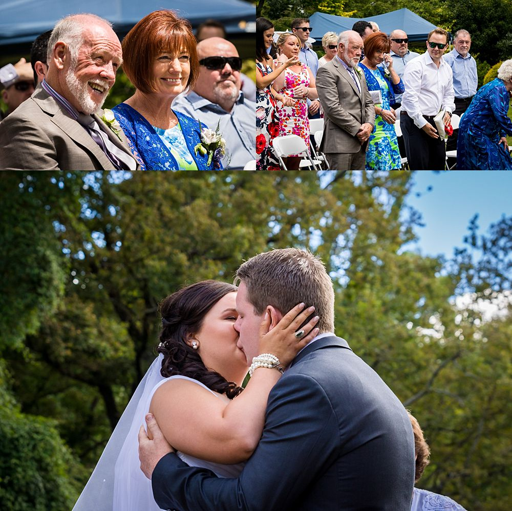 Flaxmere Garden Wedding-bride and groom kissing during the ceremony