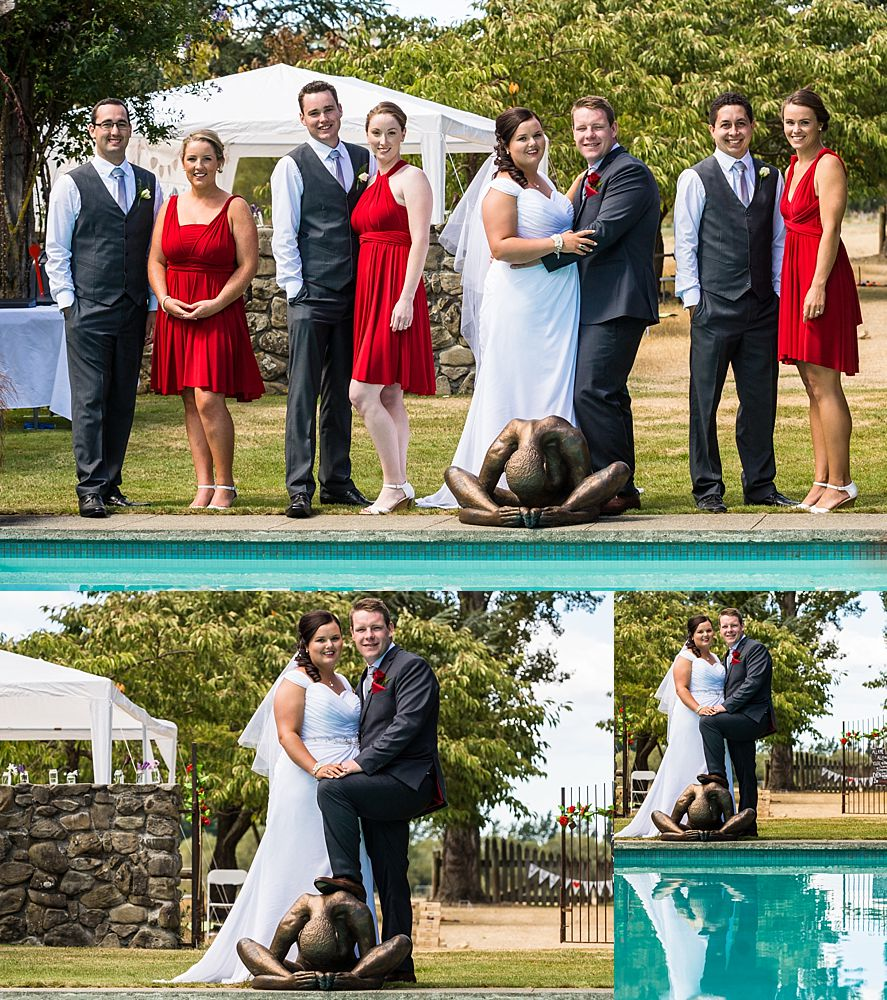 Flaxmere Garden Wedding Venue-Bridal party pose for photos by the pool