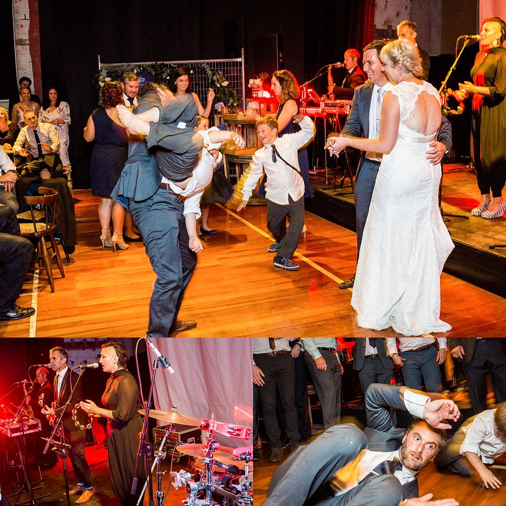 Dancing at Gym Arts Centre Wedding Venue with band Puree rocking stage