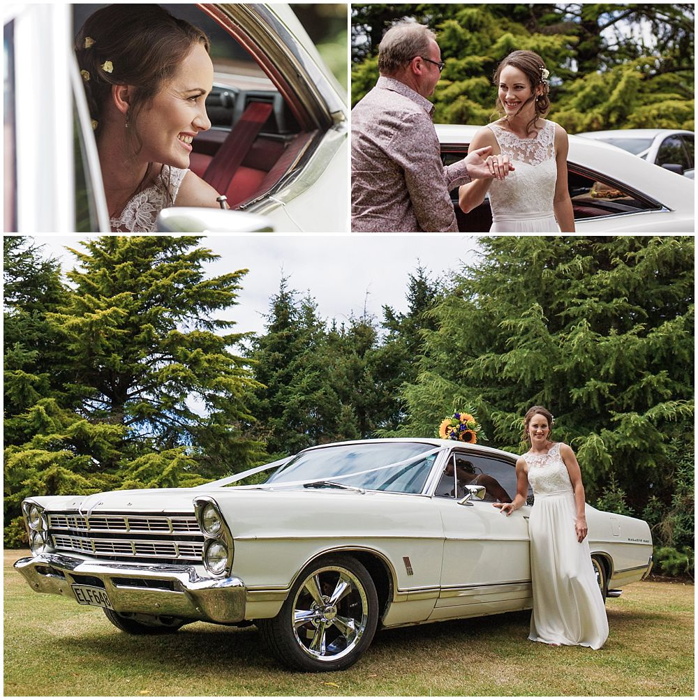 Bride arriving at Hampton Lea Gardens Wedding Venue in a white ford classic car
