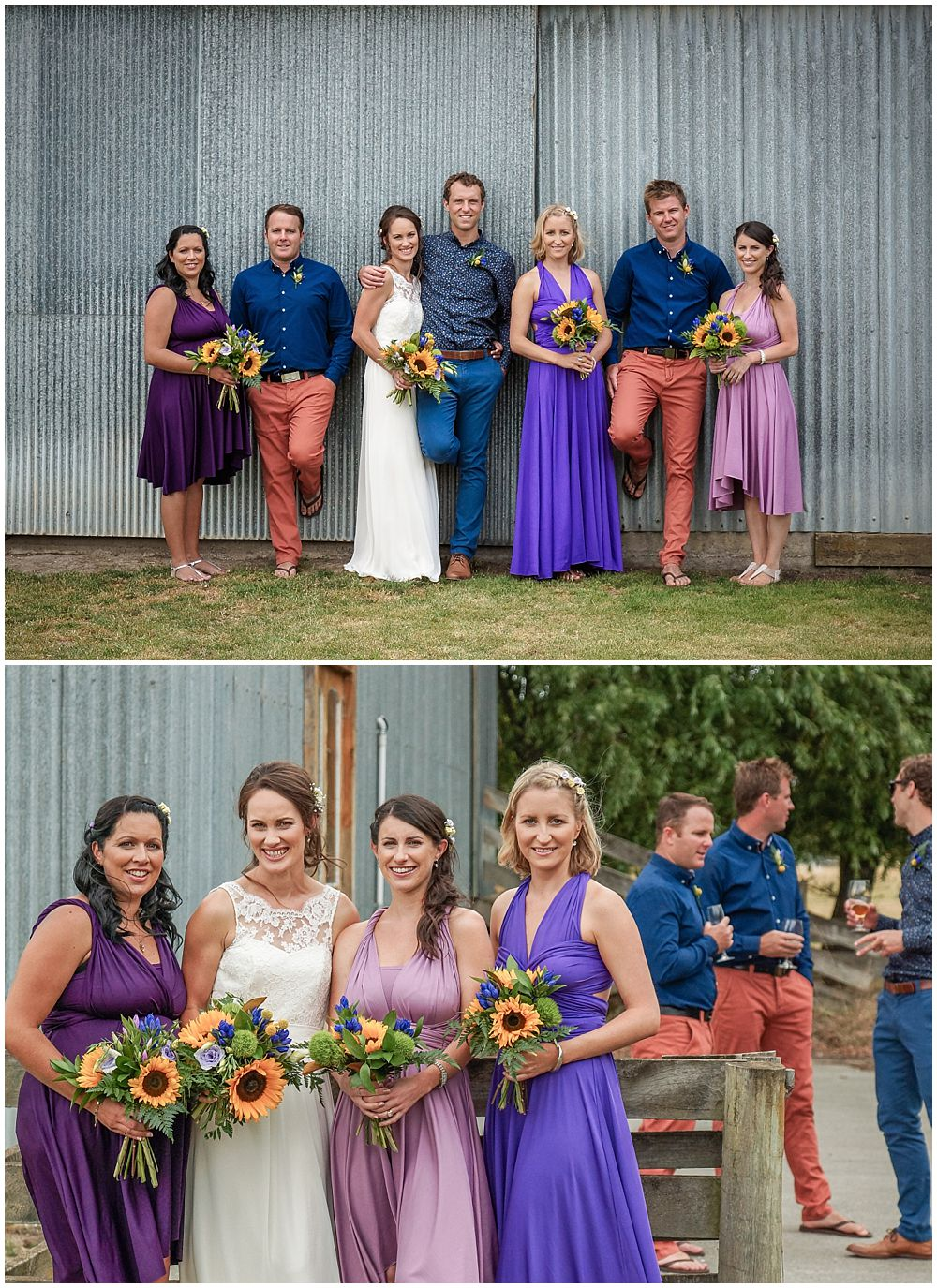 Hampton Lea Gardens Wedding Venue photos of bridal party by the barn