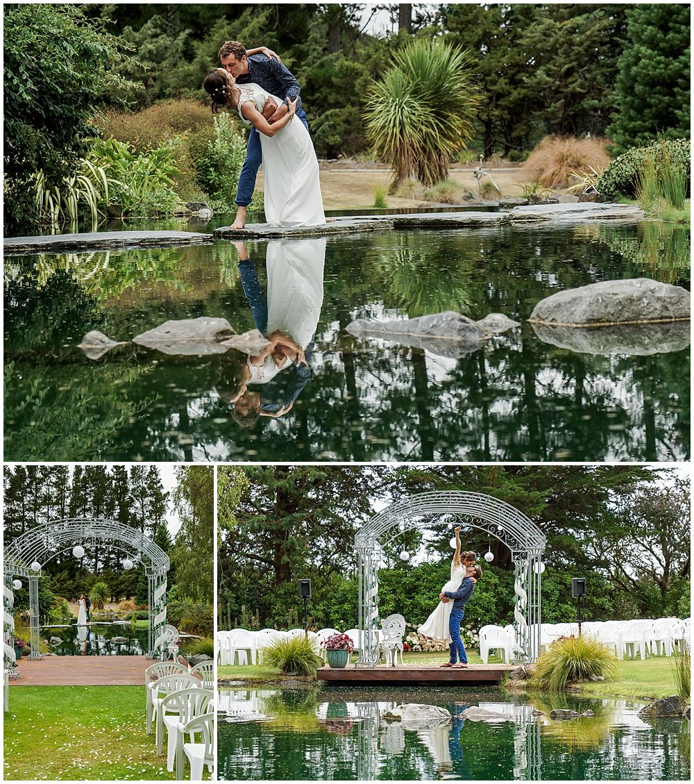 Hampton Lea Gardens Wedding Venue water pond with collage of bride and groom infant of the water