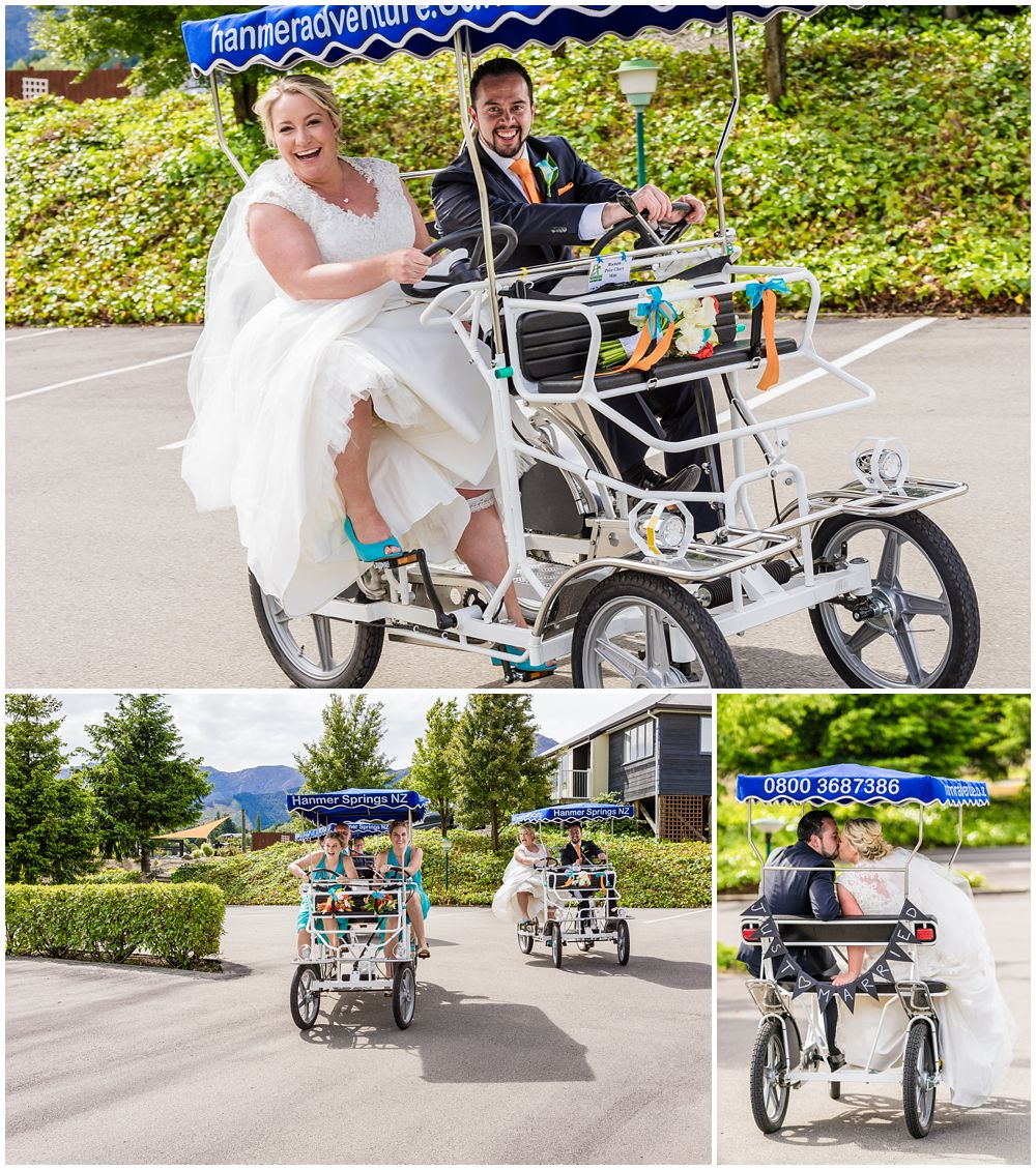 Heritage Hanmer Springs Wedding-Bridal party having fun on bikes