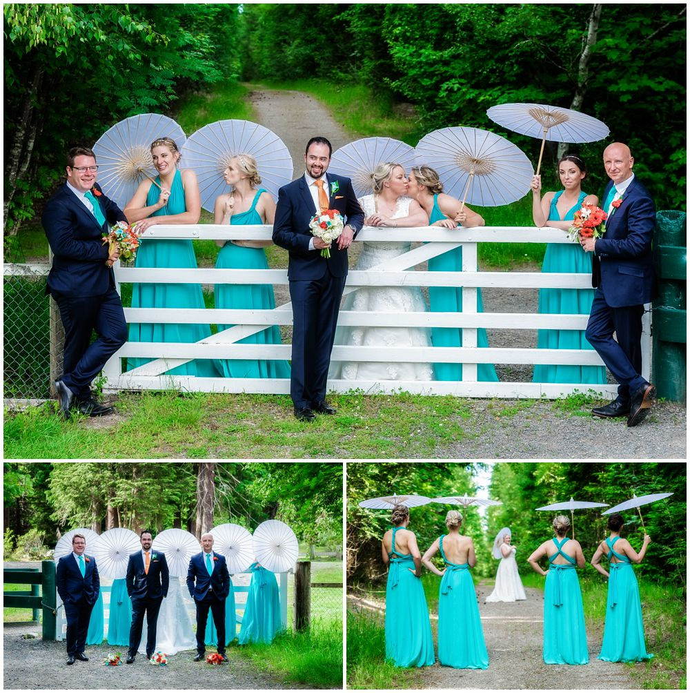 Heritage Hanmer Springs Wedding-Bridal party in front of white gate