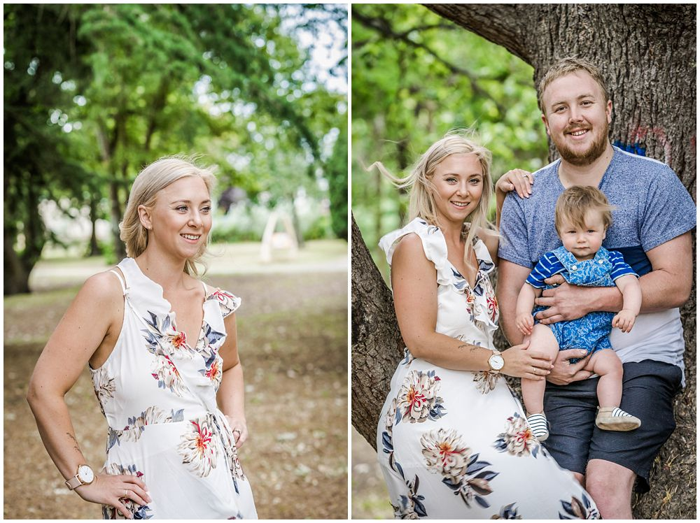 Kaiapoi domain engement photos couple holding son