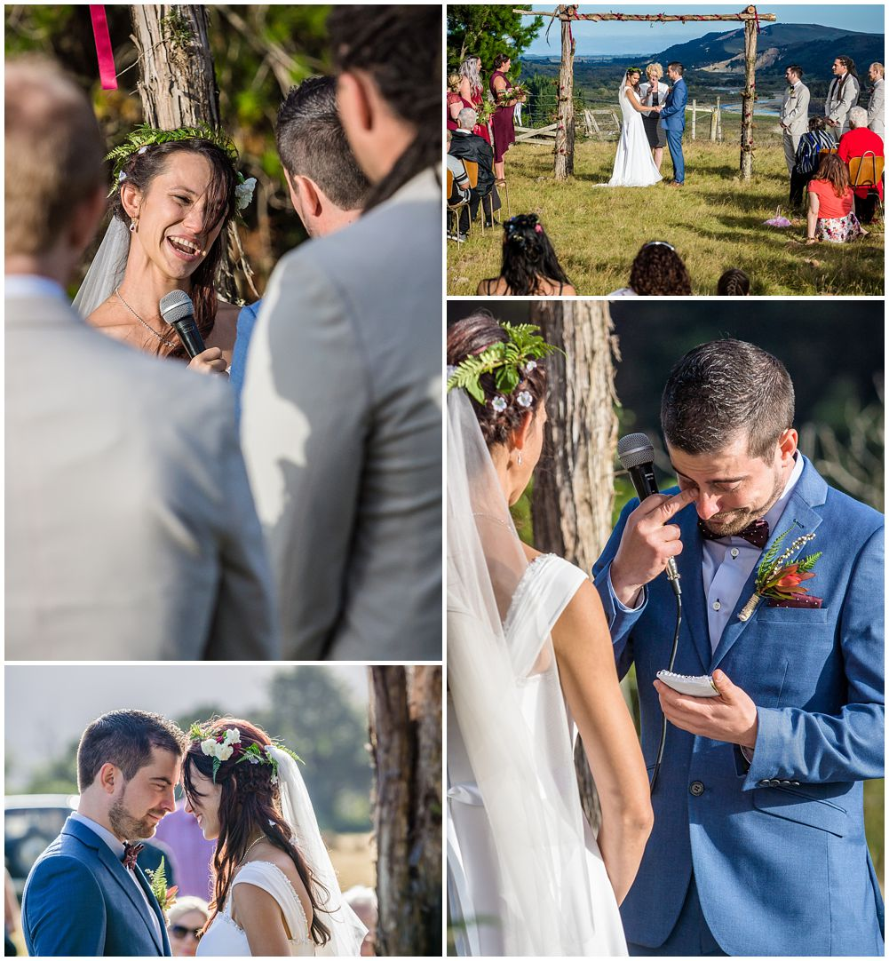 Bride and groom shed tears while exchanging vows during the farm wedding
