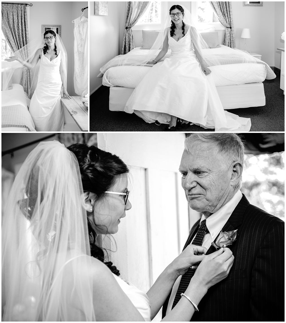 Mt Vernon Lodge Wedding-Bride adjusting dad's pocket flower
