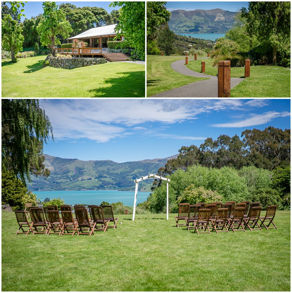 Photos of Mt Vernon Lodge Wedding Venue showing ceremony location and accommodation photo by Pip and Oz Wedding Photographers Christchurch