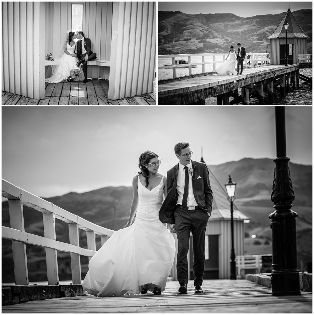Mt Vernon Lodge Wedding Venue-bride and groom walking on wharf-Akaroa Harbour