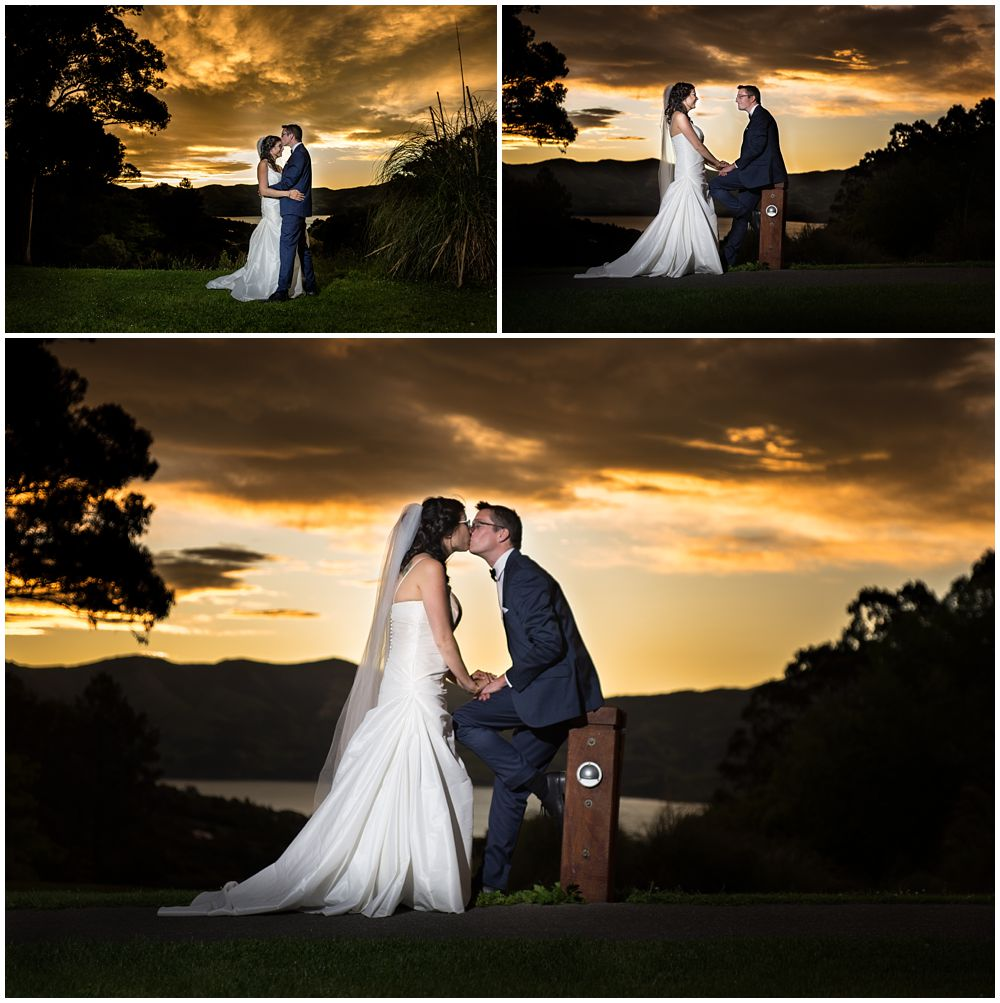 Mt Vernon Lodge Wedding-Akaroa-Sunset photos bride and groom kissing