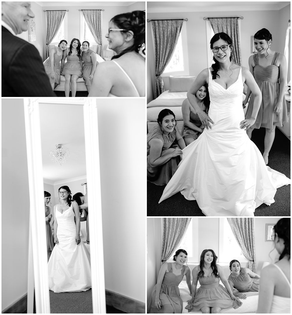 Mt Vernon Lodge Wedding-Bride with dad and bridesmaids getting ready in Maison Cottage