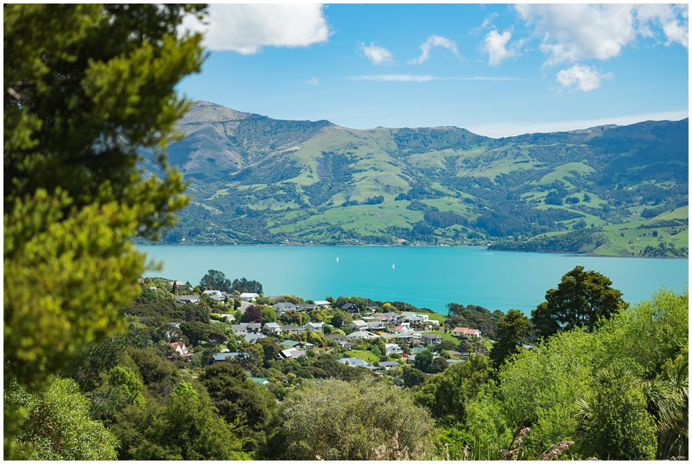 Akaroa harbour view from Mt Vernon Lodge Wedding Venue
