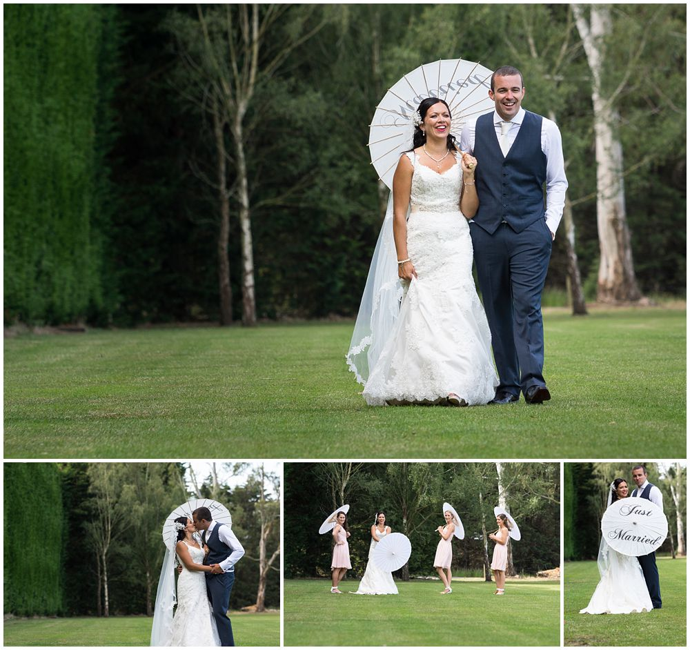 Rosemount Estate Wedding-bride and groom walking on a green field with umbrella