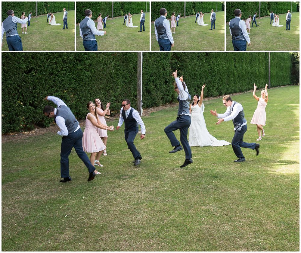 Rosemount Estate Wedding-Bridal party enjoying a game of cricket in Ohoka