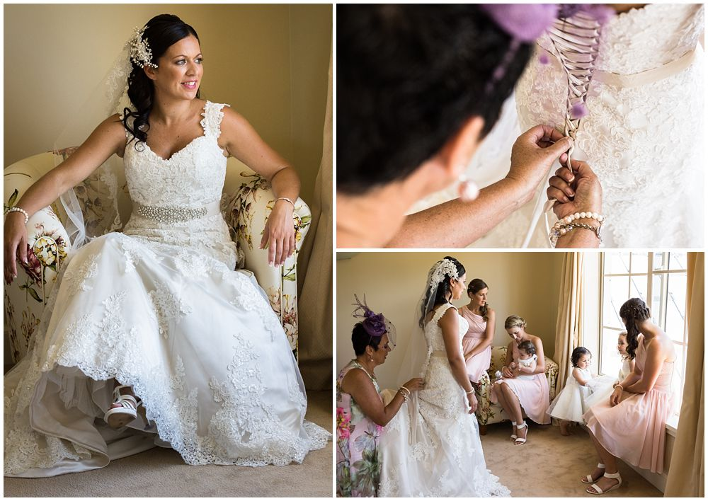 Rosemount Estate Wedding-bride getting into her wedding dress at Stoneleigh Lodge