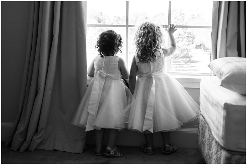 Rosemount Estate Wedding-2 Flower girls looking out the window