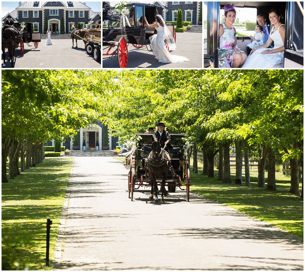 Rosemount Estate Wedding-bride with her parents and the bridesmaids in horse carriage