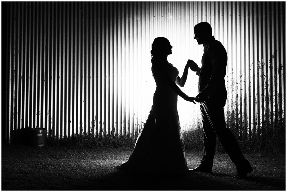 Rosemount Estate Wedding-silhouette of bride and groom at night