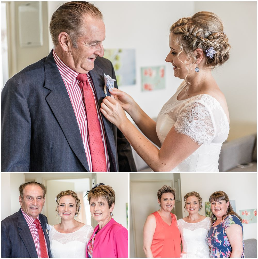 Tannery Wedding-bride with parents,bride helping dad with his buttonniere
