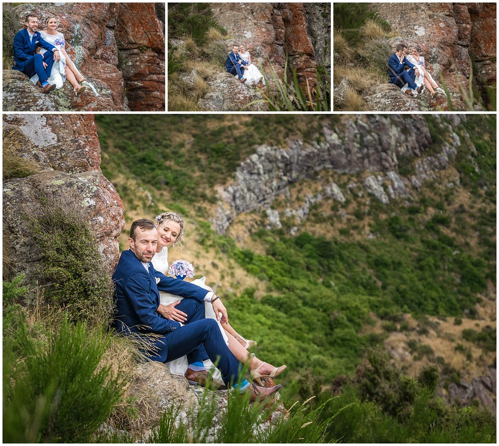 Tannery Wedding-Bride-groom sitting on the edge of the cliff