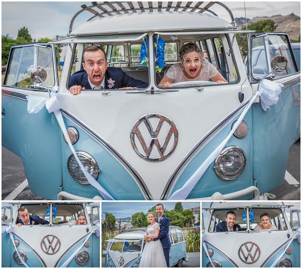 Tannery Wedding-bride-groom inside a blue and white combi van