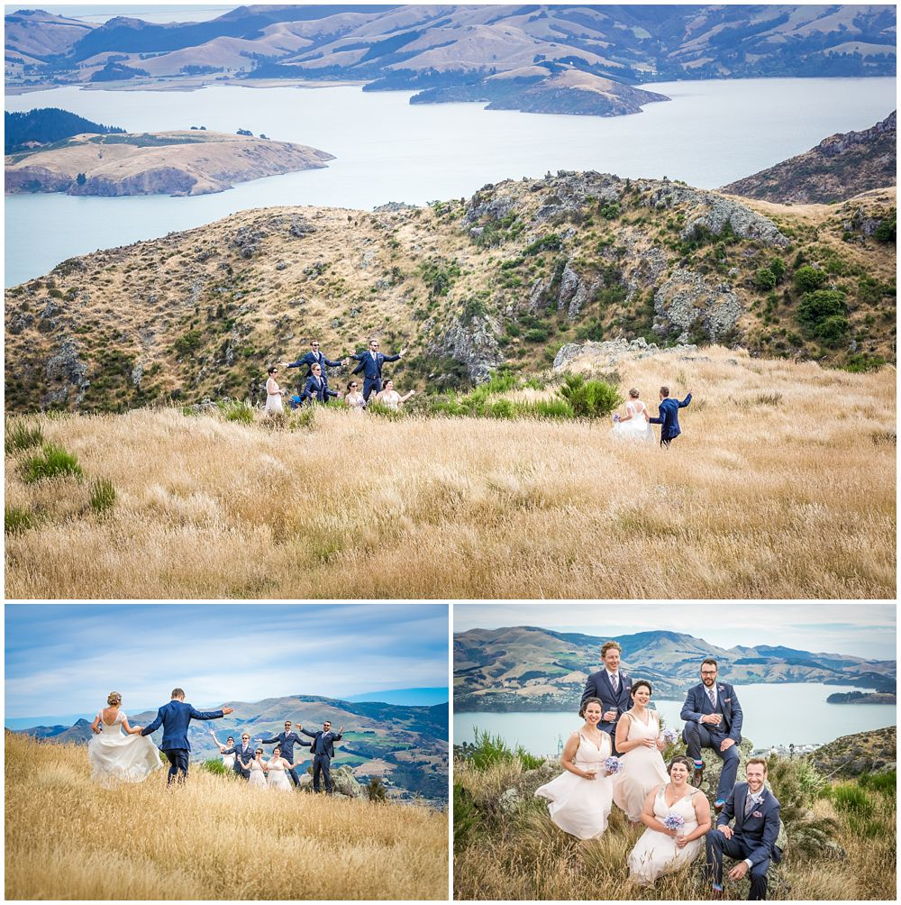 Tannery Wedding-Bridal party in front of the view of Lyttleton Harbour