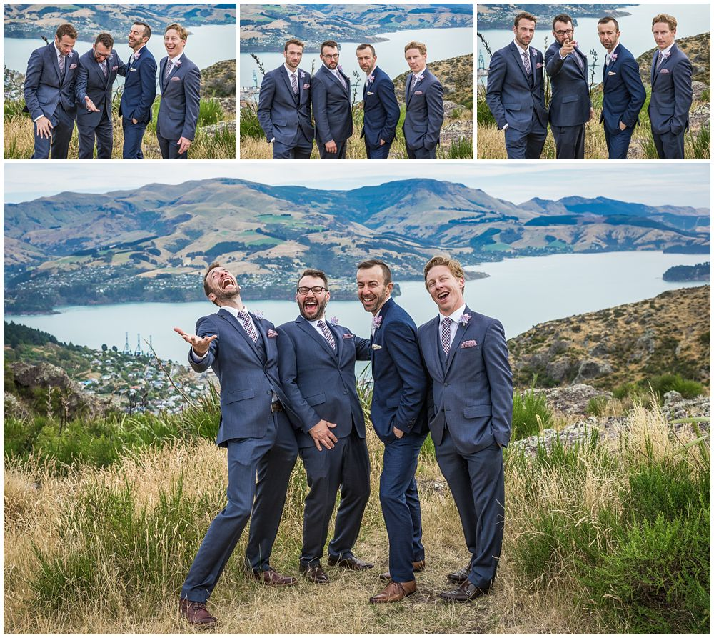 Tannery Wedding-groomsmen goofing around on the Port Hills in Christchurch