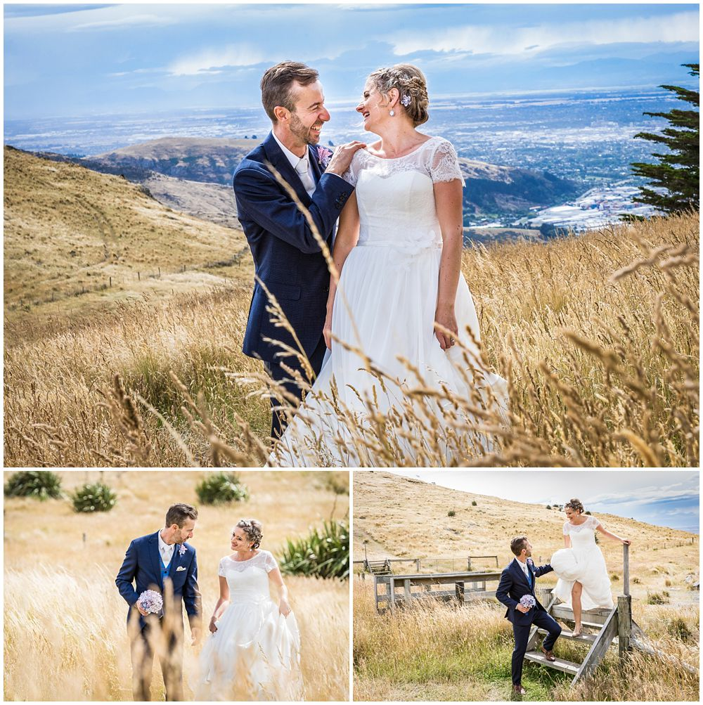 Tannery Wedding-Bride-groom in long grass on the Port Hills in Christchurch